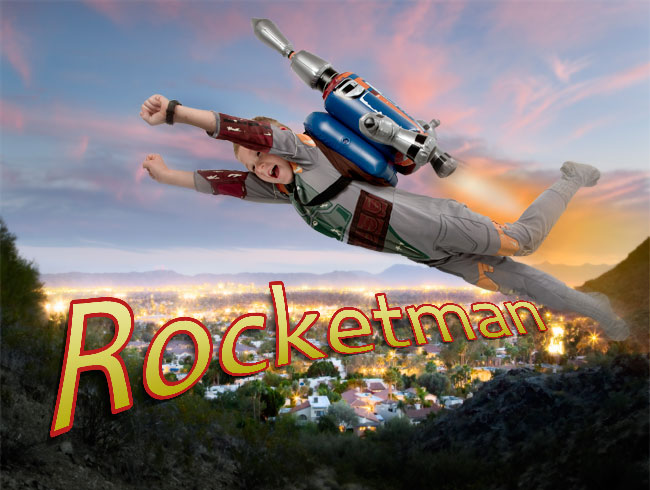 Rocketman - laying on a white floor