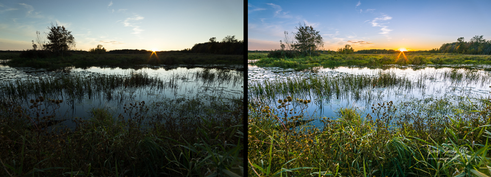 Sunset at the Necedah National Wildlife Refuge shown before and after processing in Lightroom