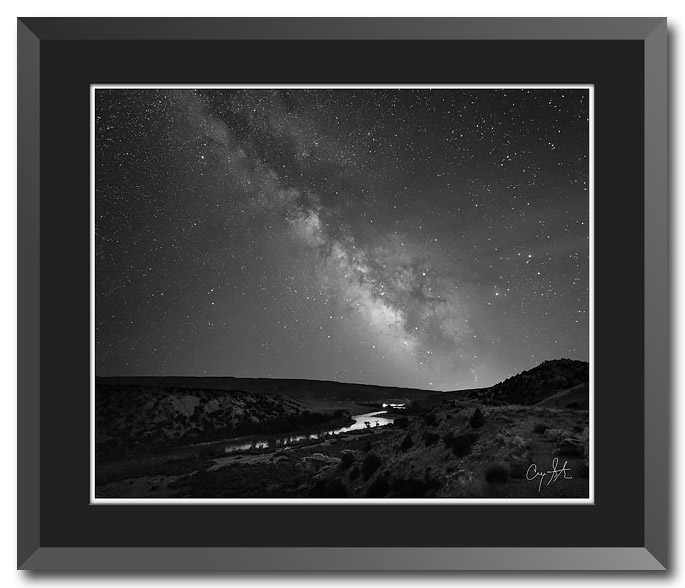 Black and white fine art photo of the Milky Way over the Green River at Dinosaur National Monument in Utah. Photo copyrigh 2017 by Craig Stocks