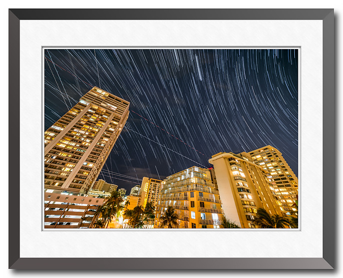 Star trails over Waikiki, Hawaii, fine art photo copyright 2018 by Craig Stocks