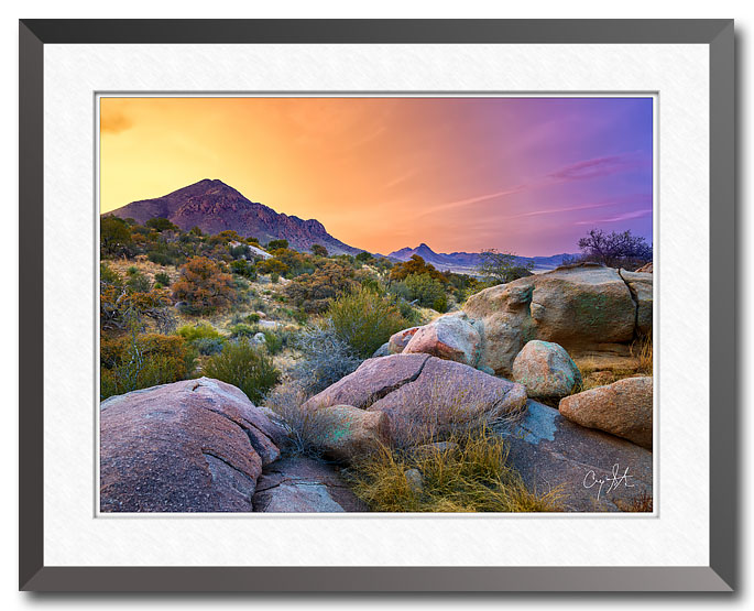 Fine art photo of the Organ Mountains - Desert Peaks National Monument in New Mexico at sunset